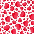 Red hearts seamless pattern on white background. Print, holiday decoration element. Abstract wallpaper vector