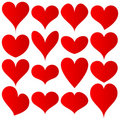 Red hearts set Royalty Free Stock Photography