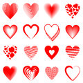 Red hearts sixteen different Stock Photo