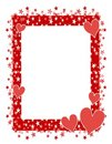 Red Hearts Stars Frame or Border 2 Royalty Free Stock Photo