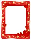 Red Hearts Stars Frame or Border Stock Photography