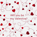 Red hearts on swirly stems on a white background. Will you be my