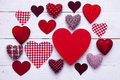 Red Hearts Texture On White Wooden Background, Copy Space Royalty Free Stock Photo