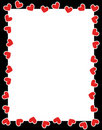 Red hearts valentine's day border Stock Images