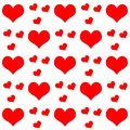 Red hearts on white background repetition cards backgrounds