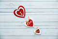 Red hearts  on white background for Valentines Day. Royalty Free Stock Photo