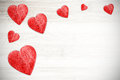 Red Hearts On White Timbered B...