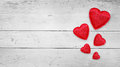 Red hearts on wood Royalty Free Stock Photo