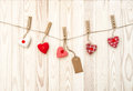 Red hearts wooden texture Valentines day background