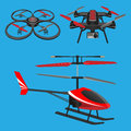 Red helicopter, dark quadrocopters with and without video camera toys