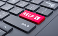 Red help with call symbol button on keyboard concept Royalty Free Stock Photo
