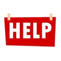 Red Help Sign - illustration on white background
