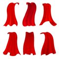 Red hero cape. Realistic fabric scarlet cloak or magic vampire cover. Vector set isolated on transparent background