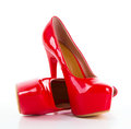 Red high heel women shoes Royalty Free Stock Photo