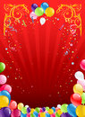 Red holiday background with balloons colorful Royalty Free Stock Photography