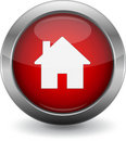 Red Home button for web Royalty Free Stock Photo
