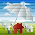 Red home with umbrella protection and security this image is useful in Royalty Free Stock Images