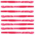 Red horizontal stripes made with a brushstroke. Watercolor abstract seamless pattern