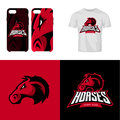 Red horse head sport club isolated vector logo concept.