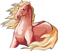 Red horse with mane and tale flowing in the wind.