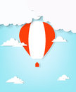 Red hot air balloon and clouds eps contains transparent objects used for shadows drawing Royalty Free Stock Image