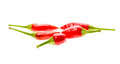 Red hot chili peppers Cayenne, Serrano with green stem. Royalty Free Stock Photo