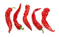 Red hot chili peppers close up isolated on white Royalty Free Stock Photo