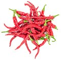 Red hot chili peppers isolated top view Royalty Free Stock Photo