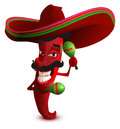 Red hot chili peppers in Mexican hat sombrero dancing maracas