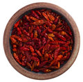 Red hot chilies pepper in pottery bowl, isolated Royalty Free Stock Photo