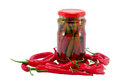 Red hot chilli pepper paprika preserve glass pot Royalty Free Stock Images