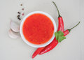 Red hot chilli sauce Royalty Free Stock Images