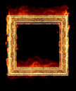 Red hot fire frame Stock Image