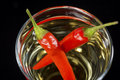 Red hot pepper vodka or tequila shooter in close closeup of chilli glass on black background Stock Photo