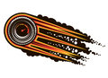 Red hot speeding motorsports icon with a tyre inset with a speedometer trailing flames and smoke cartoon illustration Stock Images