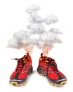 Red hot sport running shoes Royalty Free Stock Photography