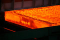 Red-hot steel slab Royalty Free Stock Photo