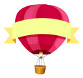Red hotair balloon and yellow ribbon Royalty Free Stock Photo
