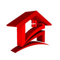 Red house check icon with swoosh Stock Photo
