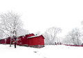 Red house winter a on a cold snowy day Royalty Free Stock Images