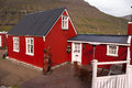 Red houses in iceland tin seydisfjordur Royalty Free Stock Photo