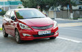 Red hyundai solaris parked sochi russia april a in the streets of sochi new korean car Stock Images