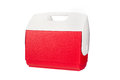 Red ice chest cooler isolated white background Stock Photos