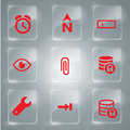 Red icons collection vector glass illustration for you design Royalty Free Stock Images