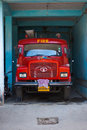 Red Indian Fire Truck Tata Royalty Free Stock Images
