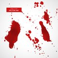 Red ink splatter or blood stain texture set Royalty Free Stock Photo