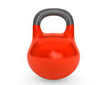 Red iron kettlebell for weightlifting and fitness on a white background Royalty Free Stock Image