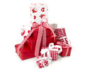 Red isolated gift boxes for christmas with santa claus and white checkered ribbon Royalty Free Stock Photography