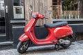 Red italian vespa scooter antwerp belgium aug classic parked in the city of antwerp august in antwerp belgium Royalty Free Stock Photos