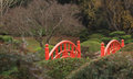 Red Japanese bridge in garden Royalty Free Stock Photo